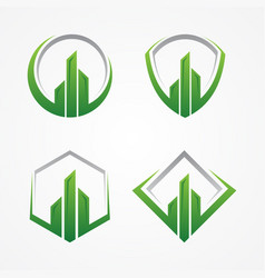 Realty or finance symbol with color green and grey vector