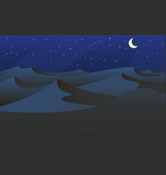 sahara desert at night with a crescent moon vector image