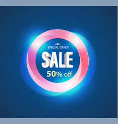 sale circle banner modern light style vector image