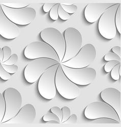 seamless pattern white 3d paper flower vector image