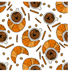 seamless pattern with coffee beans vector image