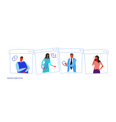 set different poses businesspeople office workers vector image