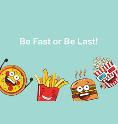 set funny fast food icons cartoon face food vector image