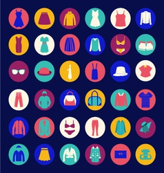 set icons of Fashion cloth and accessories collect vector image