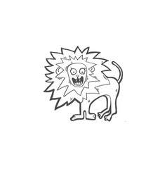 sketch drawing doodle icon lion screams vector image