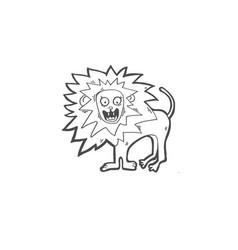 sketch drawing doodle icon of lion screams vector image