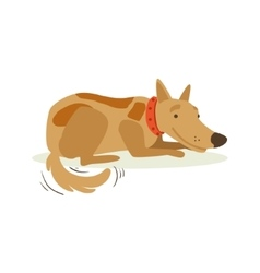Smiling Brown Pet Dog Laying Animal Emotion vector image