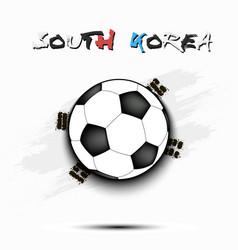 soccer ball and south korea flag vector image