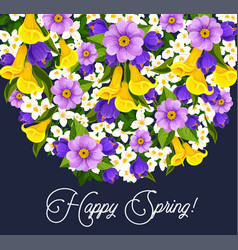 springtime crocuses flowers greeting card vector image