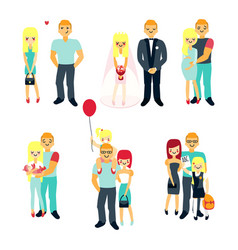 Stages family life concept poster vector