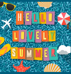 summer time background top view on composition vector image