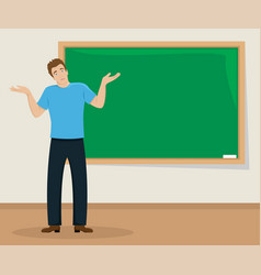 surprised young man shrugs in the classroom vector image