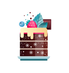 tasty dessert decorated with cream piece of vector image
