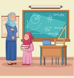 Teacher with student vector
