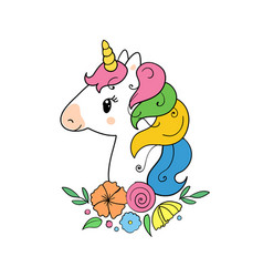 The cute magic unicorn and flower elements vector