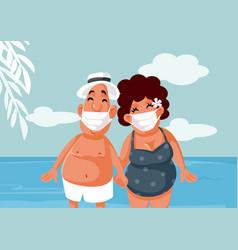 tourists wearing medical face masks on summer vector image