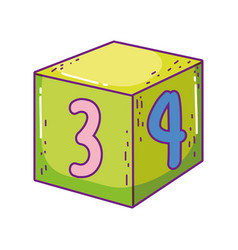 toy cube number block learn icon vector image
