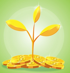 Tree Gold coin cartoon vector image
