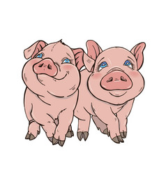 two cute funny pig vector image