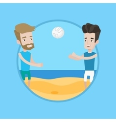Two men playing beach volleyball vector image