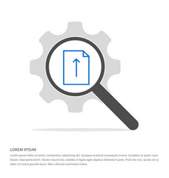 up arrow icon search glass with gear symbol icon vector image