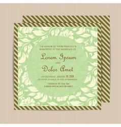 wedding invitation floral green vector image