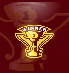 Winner prize cup emblem sport trophy sign vector