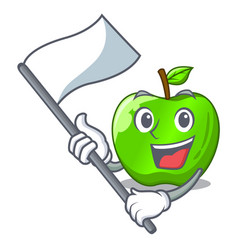 With flag green smith apple isolated on cartoon vector