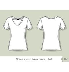 Women short sleeve v-neck t-shirt Template for vector image