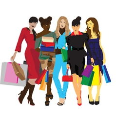 Womens with shopping vector