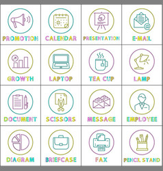 work and business round linear icons templates vector image