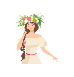 Young beautiful brunette woman with flower wreath vector