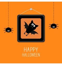 Bat hanging spider picture frame halloween vector