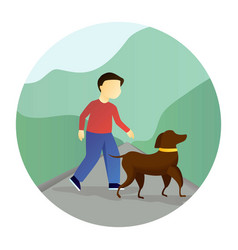 boy walking with a dog vector image vector image