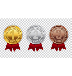 champion gold silver and bronze medal with red vector image