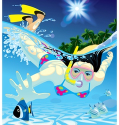 Diving girl vector image vector image
