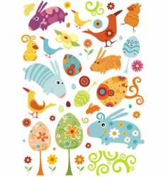 Easter animals set vector