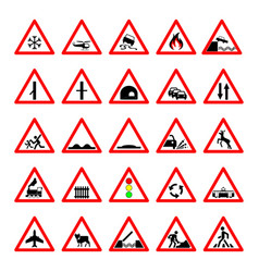 set road hazard warning signs road signs warn vector image vector image