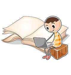 A young boy with a laptop near the big book vector image