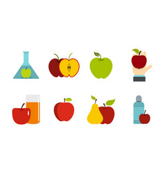 apple icon set flat style vector image