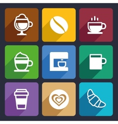 Coffee Flat Icons Set 44 vector image