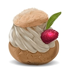 delicious cupcake with cream topping vector image