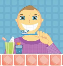 kid cleans a teeth vector image
