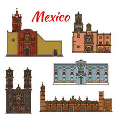 Mexico landmarks architecture line icons vector