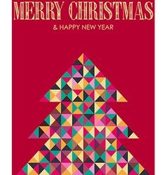 Retro mosaic Christmas pine tree vector image vector image