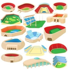 Sport stadium set cartoon style vector image