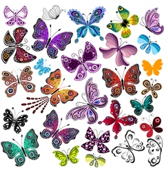 Big collection silhouette colorful butterflies vector image