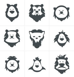 Black lion face icon isolated on white vector image vector image