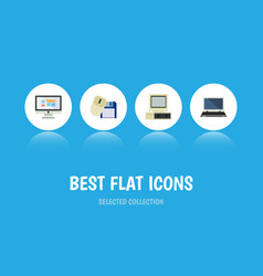 flat icon computer set of notebook display vector image vector image