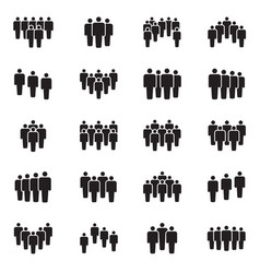 human persons crowd black icons office vector image vector image